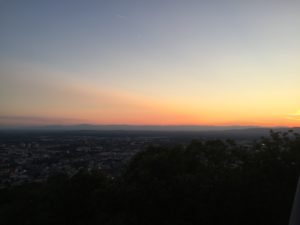Sunset in Freiburg during hike to Schlossbergturm
